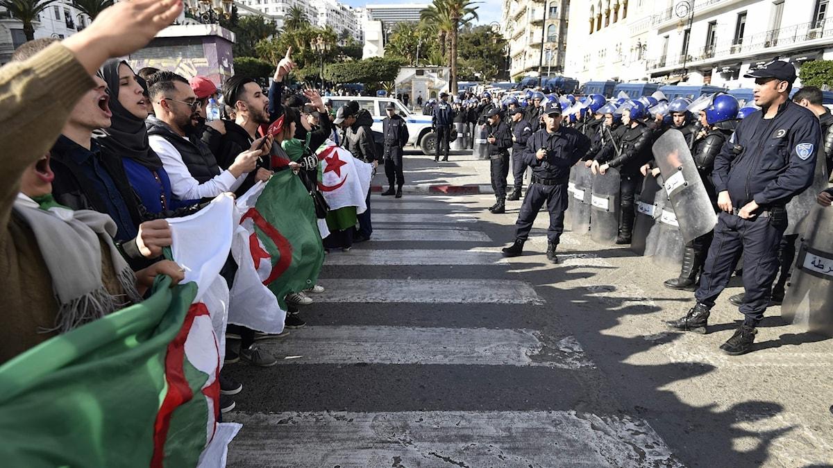 Protester i Algeriets huvudstad Alger.