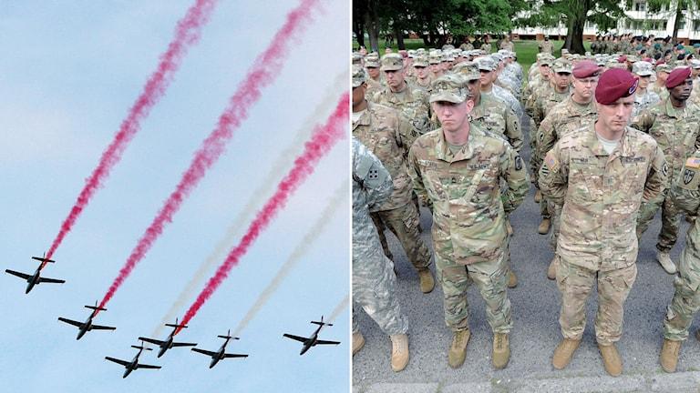 Stridsflygplan visar upp sig under Nato-toppmöte i Warsawa. Amerikanska soldater i samband med tidigare Natoövning.
