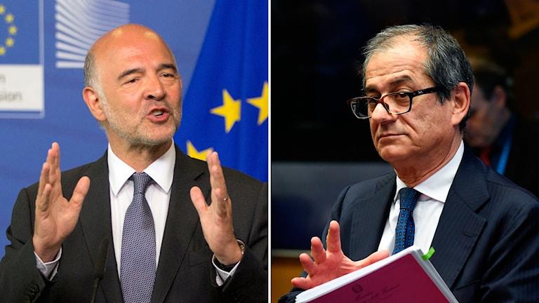 EU-kommissionens ordförande Pierre Moscovici och Italiens finansminister Giovanni Tria.