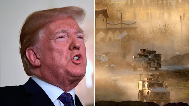 Donlad Trump och amerikansk militär i Syrien