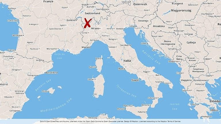 En karta som visar var Cervinia ligger.