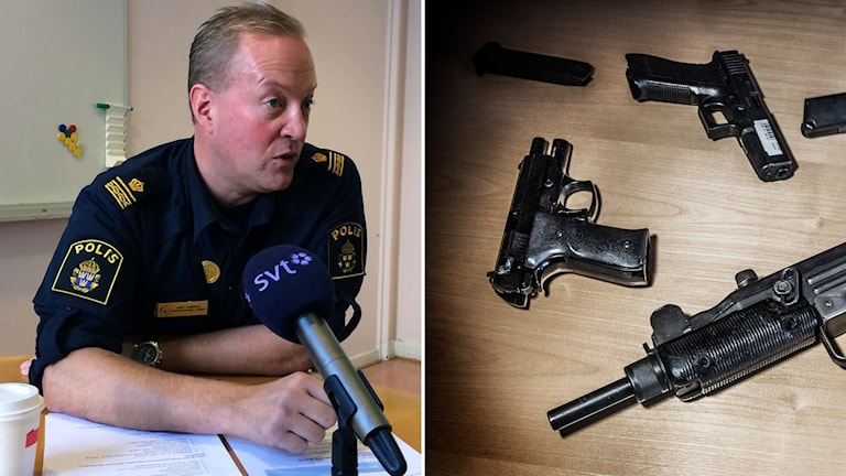 Malmöpolisen Andy Rogers och beslagtana vapen