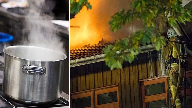 spis och en brand på ett asylboende