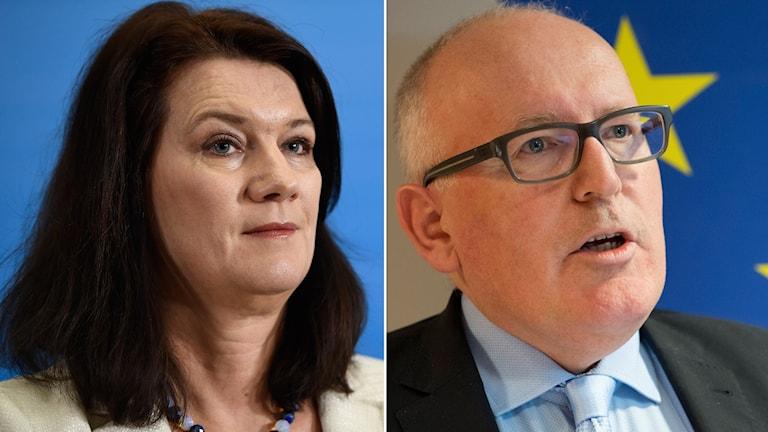 Ansiktsbilder av Ann Linde, EU-minister (S) och Frans Timmermans, EU-kommissionens första vice ordförande