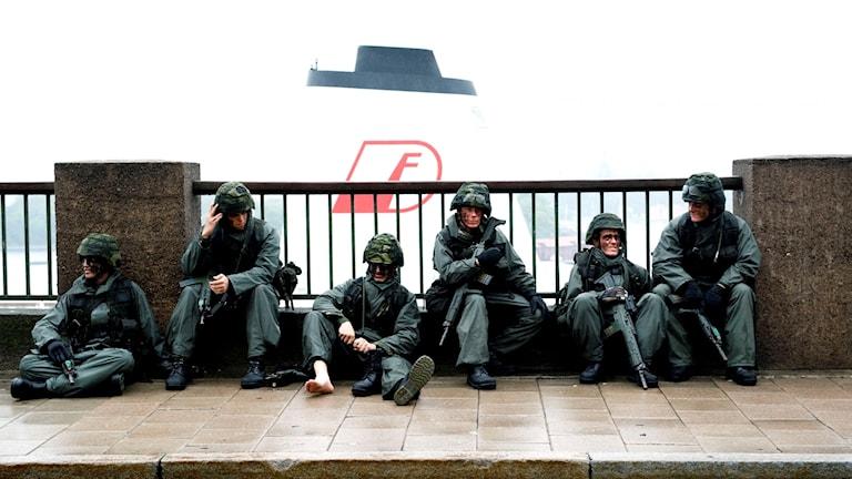 En grupp soldater.