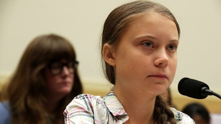 Klimataktivisten Greta Thunberg i kongressen.