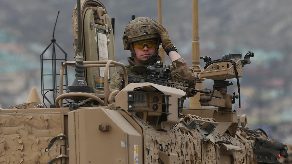 Brittisk Natosoldat i Afghanistan.