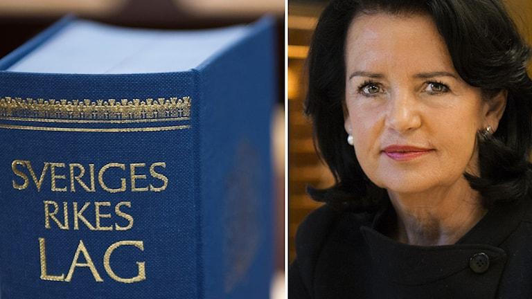 Till vänster en lagbok, till höger Anne Ramberg, ordförande Advokatsamfundet.