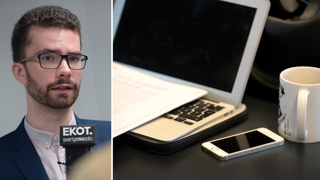 Delad bild: Man blir intervjuad, dator, telefon och kaffekopp på ett skrivbord.