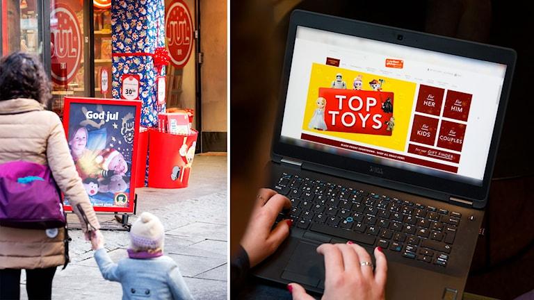 Till vänster: En mamma och dotter utanför en leksaksbutik. Till höger: någon som shoppar via nätet.