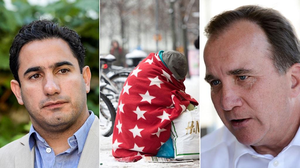 Ardalan Shekarabi, tiggare sitter och hukar under en filt, statsminister Stefan Löfven.