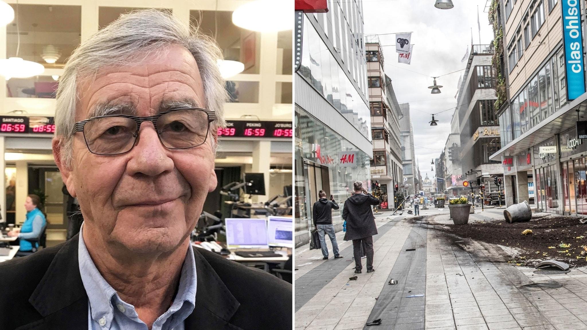 Sveriges Radios juridiska expert Peter Althin. Till höger: Drottninggatan i Stockholm efter lastbilsattacken.