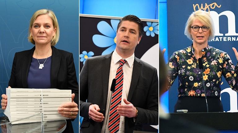 Tredelad bild: kvinna med budget, man med slips, kvinna med händerna utsträckta.