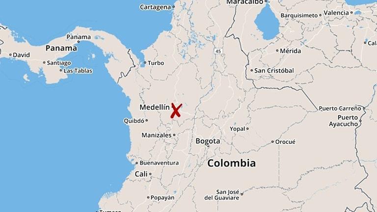 Karta för flygkrasch i Colombia Foto: TT