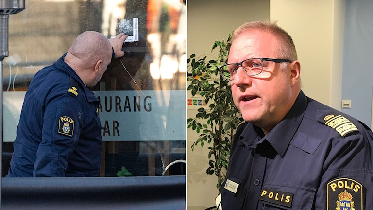 Polismästare Stefan Sintéus i Malmö och en polis som undersöker skott mot en restaurang.