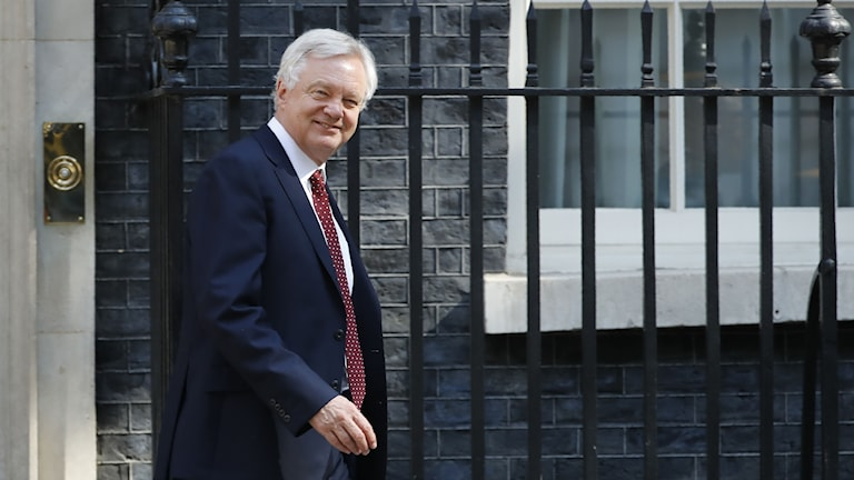 David Davis lämnar 10 Downing Street i centrala London.