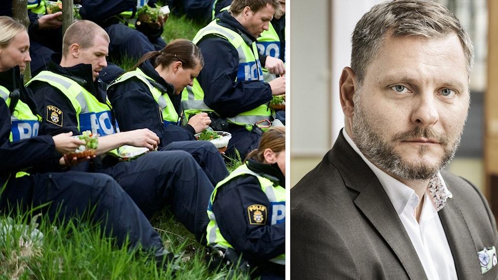 Delad bild på polisstudenter och Polisförbundets förste vice ordförande Thomas Stjernfeldt