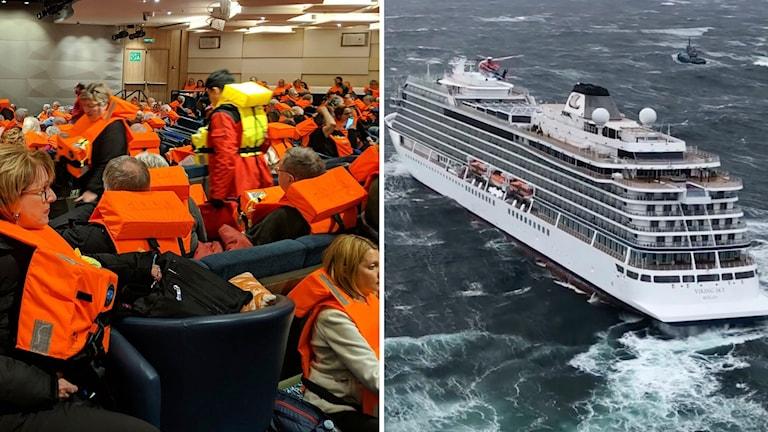 Passagerare med flytvästar och fartyget.