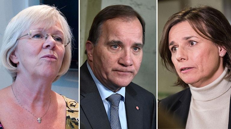 Wanja Lundby Wedin, Stefan Löfven och Isabella Lövin.