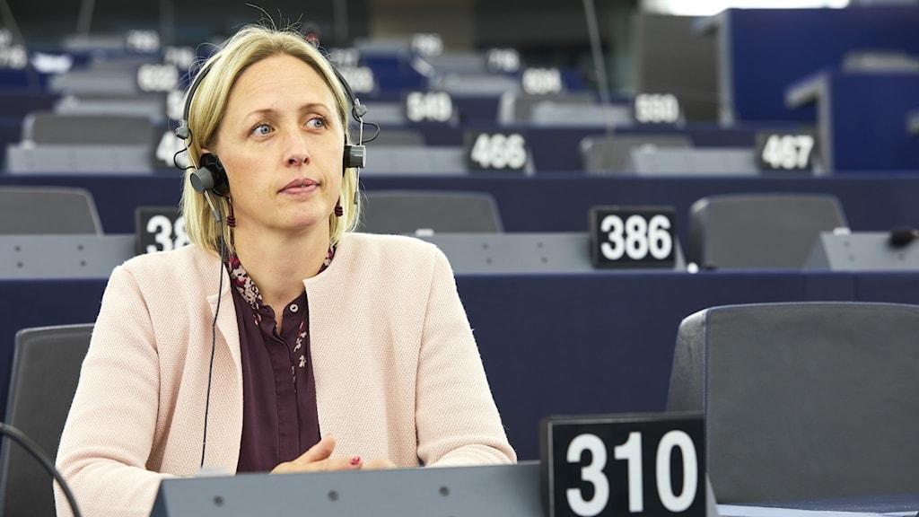 Socialdemokraternas Jytte Guteland i Europaparlamentets plenisal.