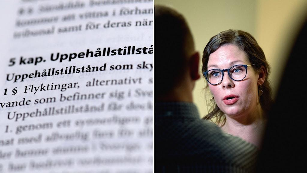 Delad bild: bild av lagbok, kvinna med glasögon.
