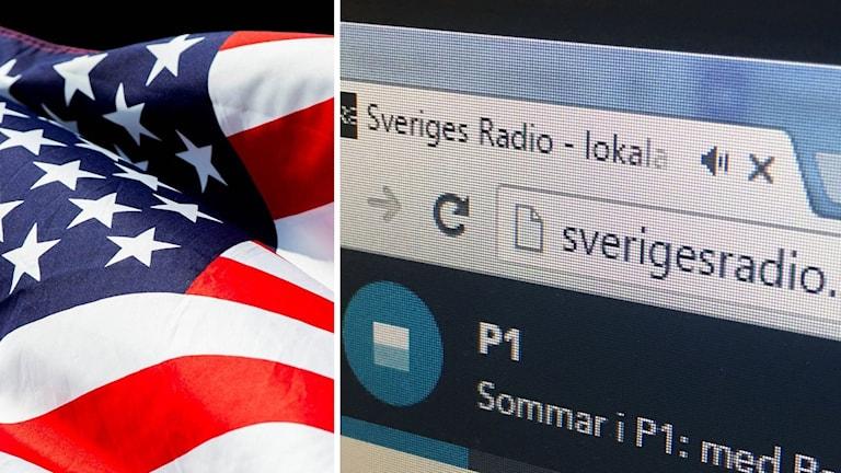 USA-flagga och Sverigesradio.se