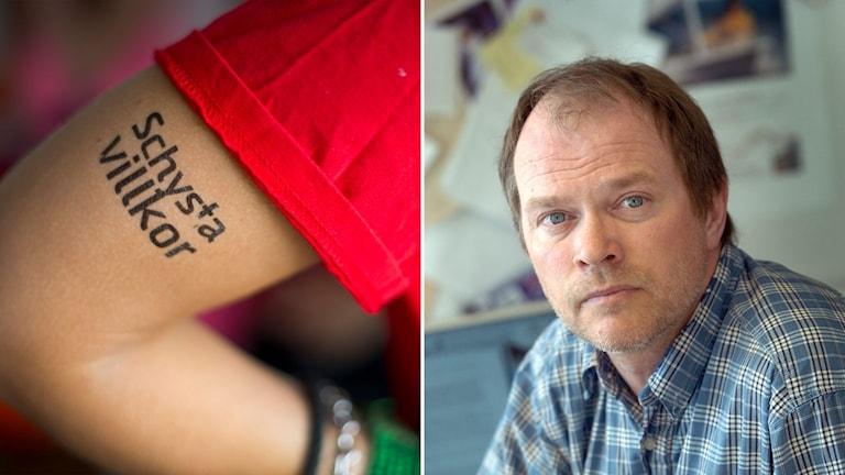 Tatuering med texten Schysta villkor och bild på professor Dennis Töllborg.