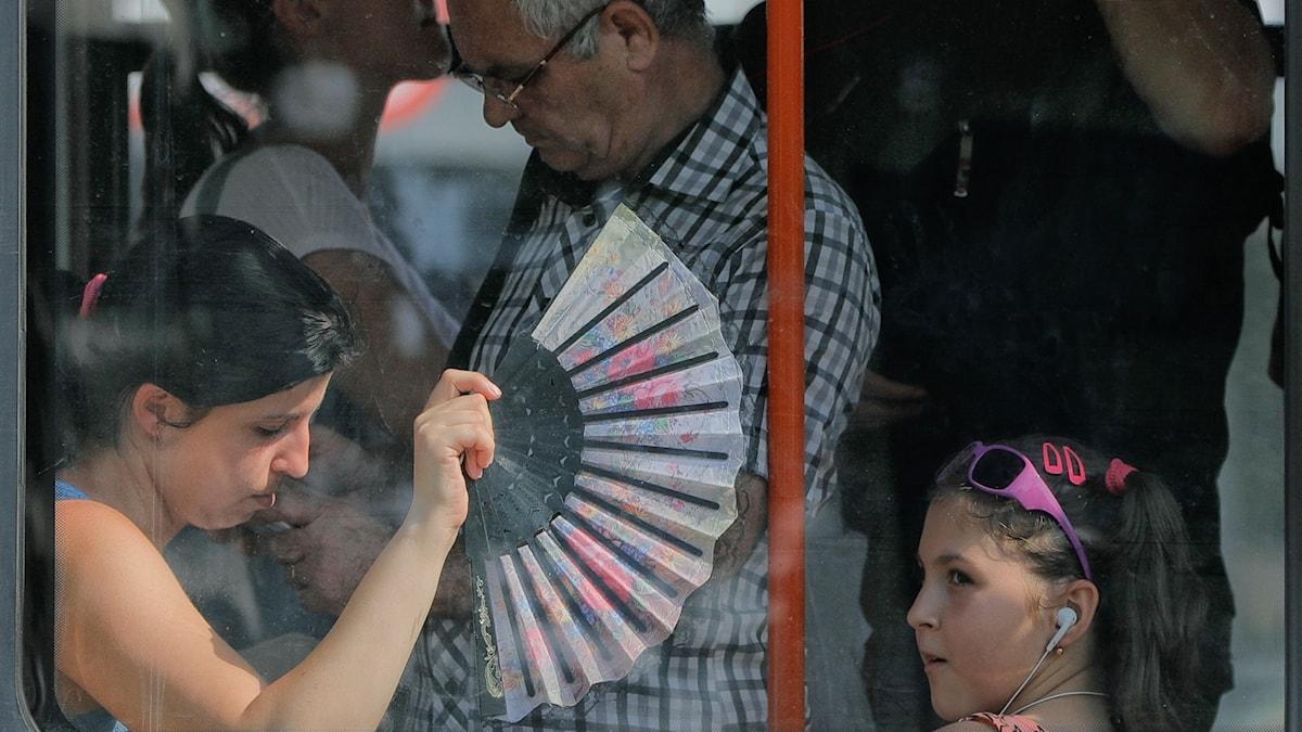 En kvinna sitter med en solfjäder på en buss.