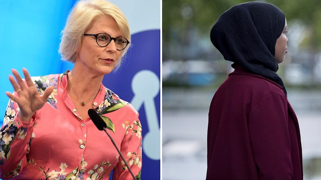 Att små flickor ska behöva skyla sig tycker vi är problematiskt, säger Elisabeth Svantesson (M). Foto: Carina Johansen/Karin Wesslen/TT. Montage: Sveriges Radio.