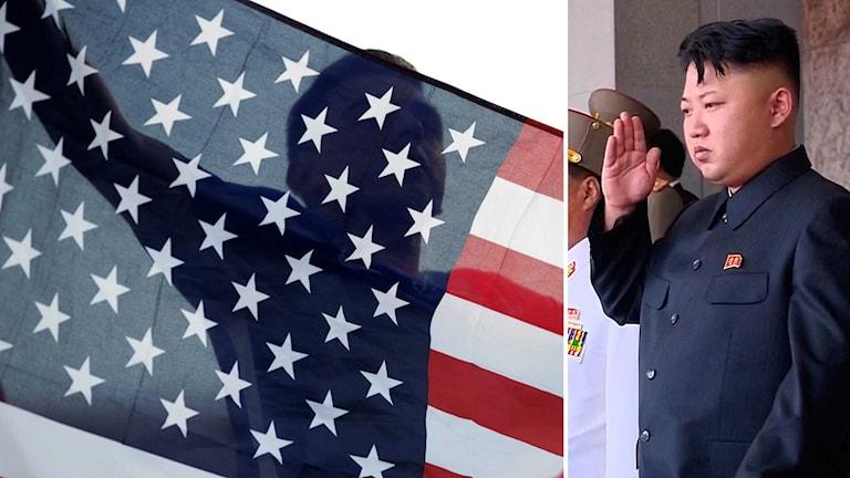 USA:s flagga och Nordkoreas ledare Kim Jung Un
