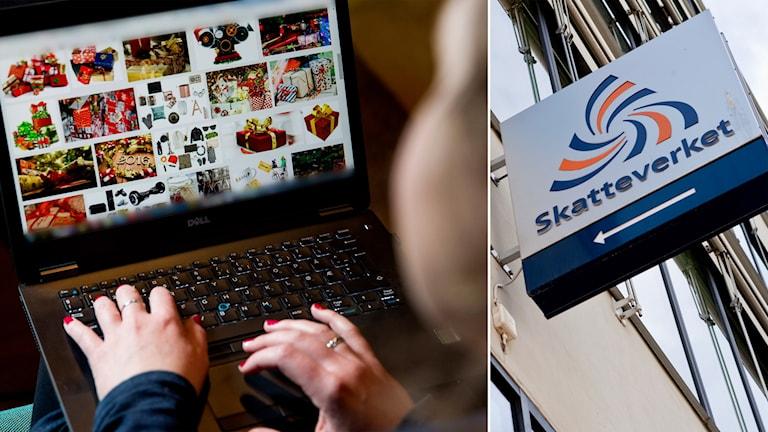 Delad bild: Datorskärm med nätbutik, skatteverket-skylt.