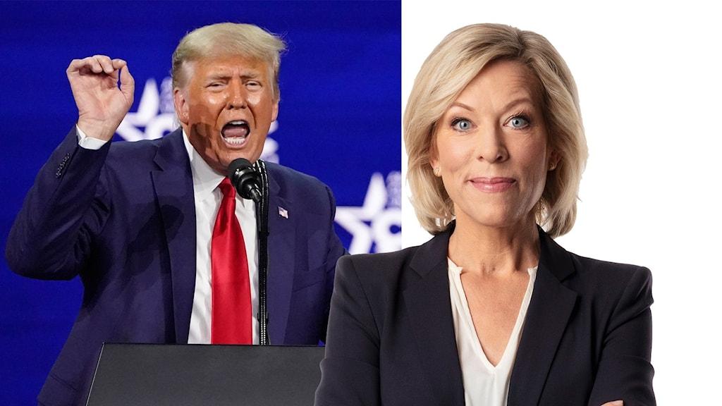 Sveriges Radios USA-kommentator Ginna Lindberg och USA:s förre president Donald Trump.