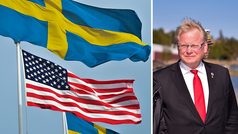 Svenska och amerikanska flaggan till vänster. Försvarsminister Peter Hultqvist (S) till höger.