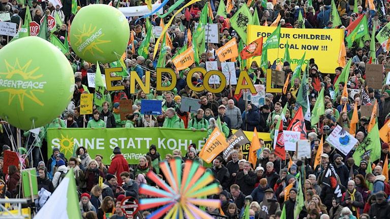 Bild från klimatprotesterna i Köln.