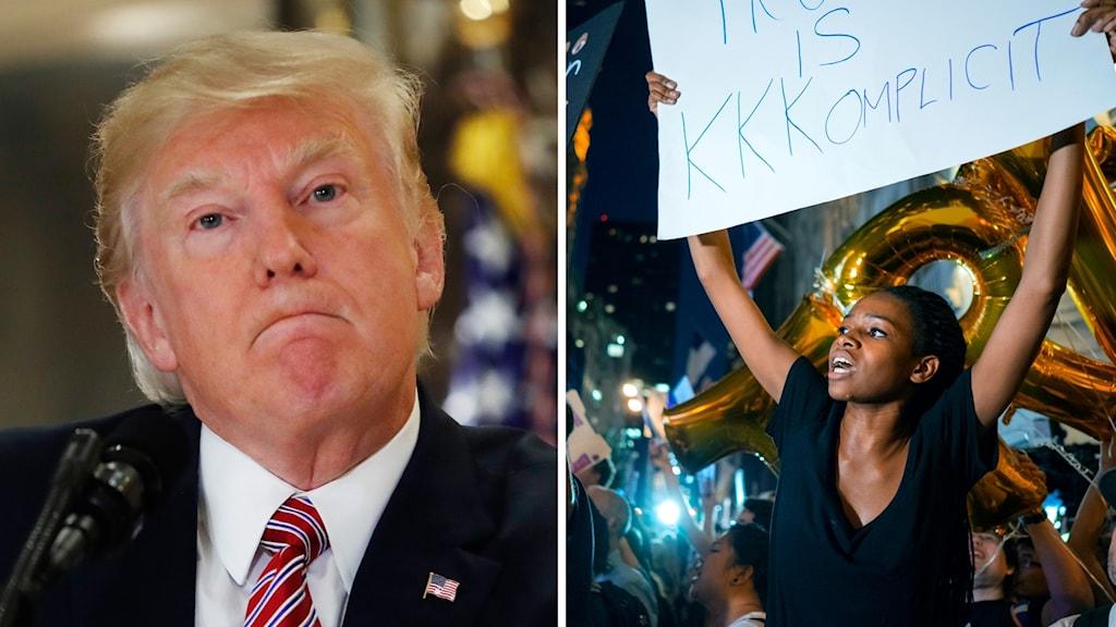 En sammanbiten man och protesterande kvinna.