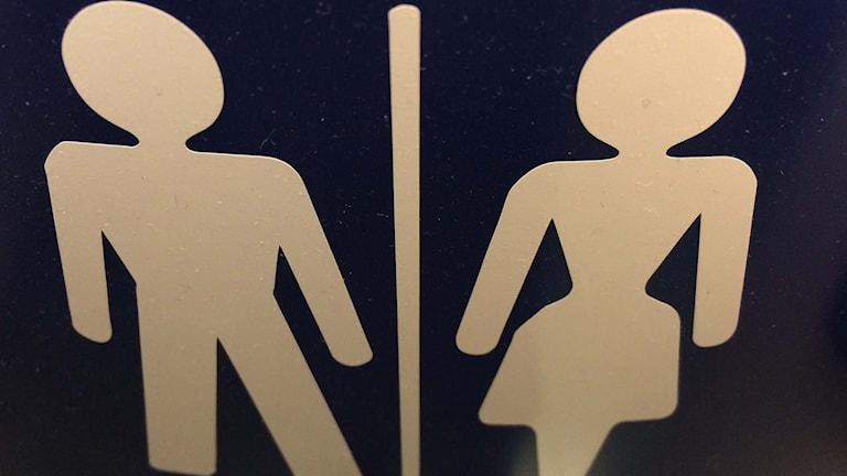 Skylt som visar att toaletten är till för både damer och herrar.