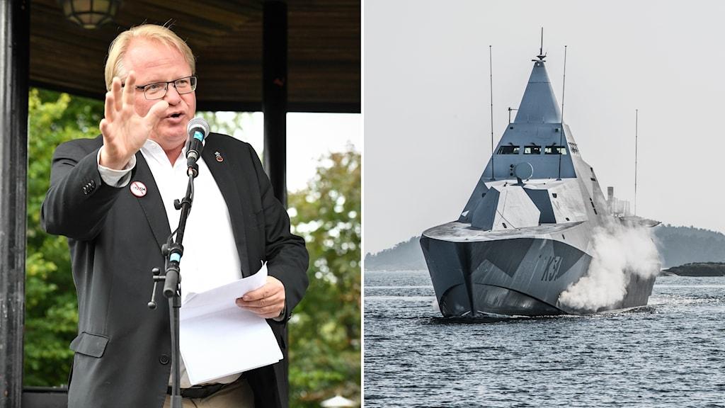Försvarsminister Peter Hultqvist och Korvetten HMS Visby Splitbild