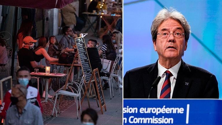 Montage på uteservering i Italien och EU:s ekonomikommissionär Paolo Gentiloni.