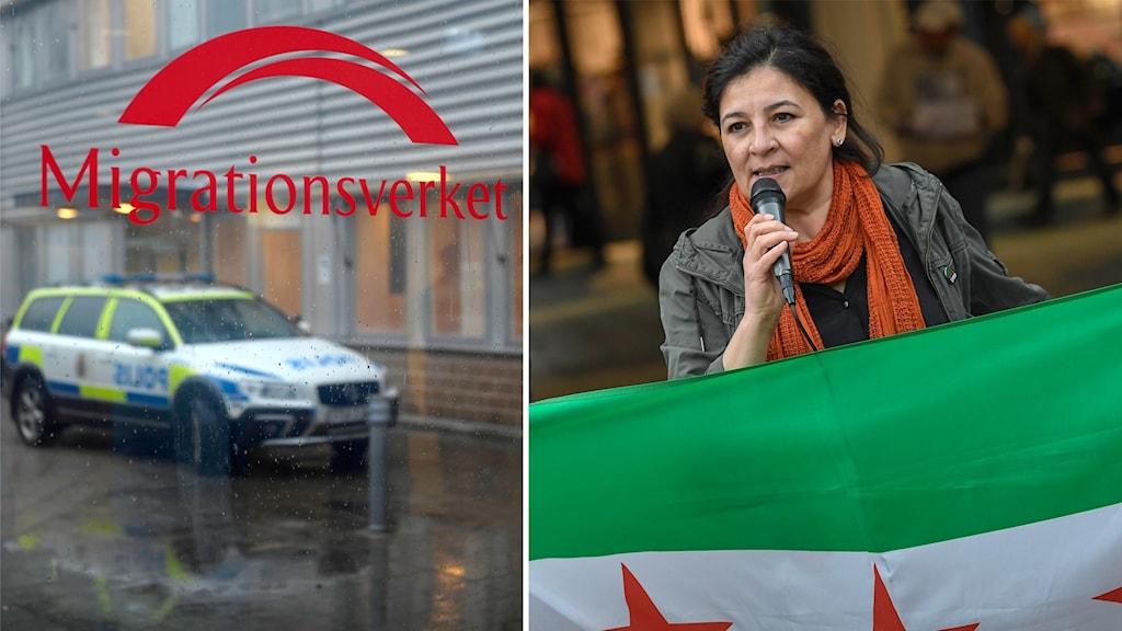 Migrationsverket och Nadia Alhaj, ordförande i Föreningen Syrien Sverige.