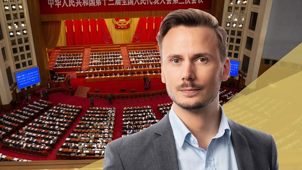 Ett montage med en bild av Kinas folkkongress och ett porträtt av Ekots Kinakorrespondent Björn Djurberg.