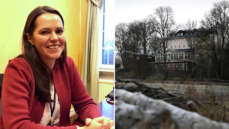 Delad bild: kvinna och slott.