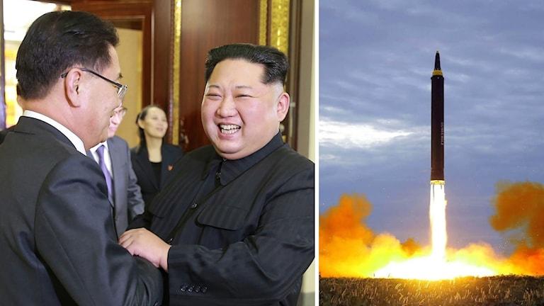 Kim Jong-Un och ett robottest.
