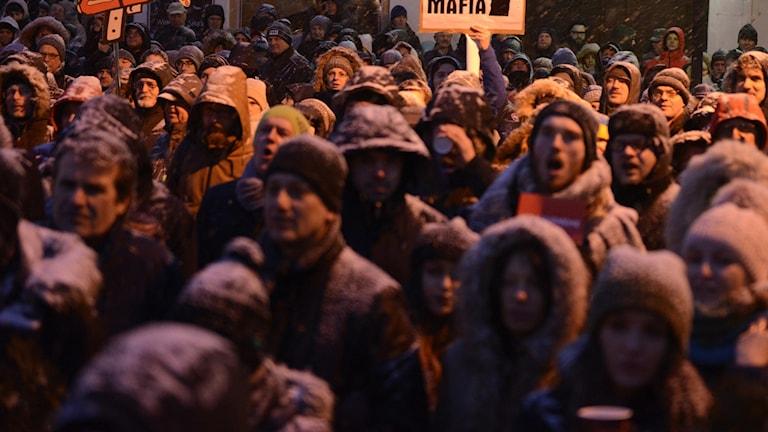 Tusentals människor deltog i en demonstration efter mordet på Jan Kuciak och hans flickvän.