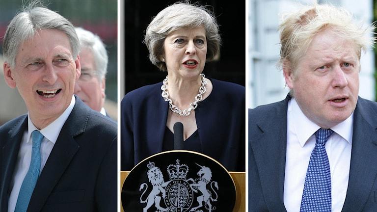 Philip Hammond, Theresa May och Boris Johnson.