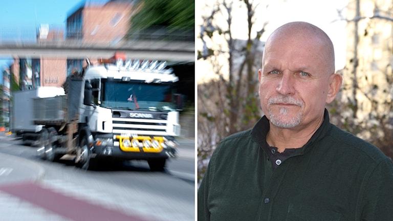 Bildsplit på lastbil i ofokus och Mikael Roos är arbetsmiljöinspektör på Arbetsmiljöverket.