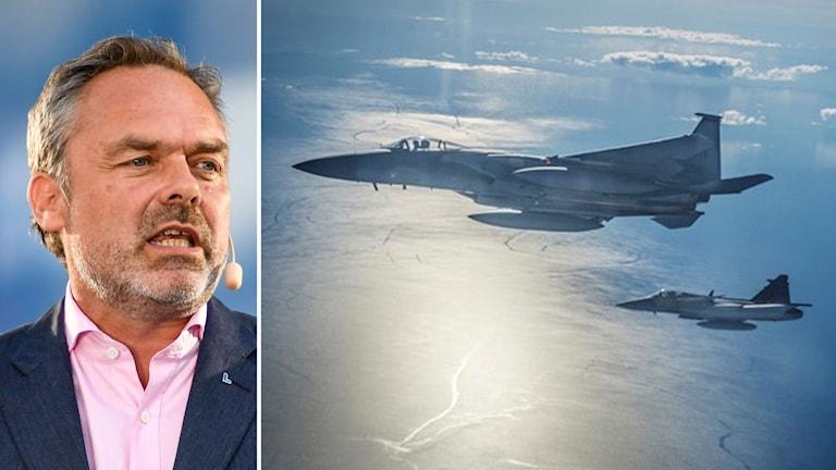 Bildmontage av Liberalernas ledare Jan Björklund samt militärflygplan.