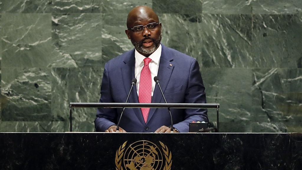 Liberias president håller anförande i FN.