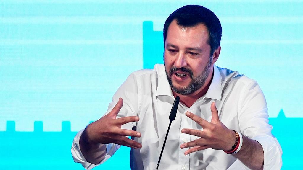 Vice premiärminister Matteo Salvini håller tal på familjekongressen och tycker att homosexuella par bör inte vara föräldrar.