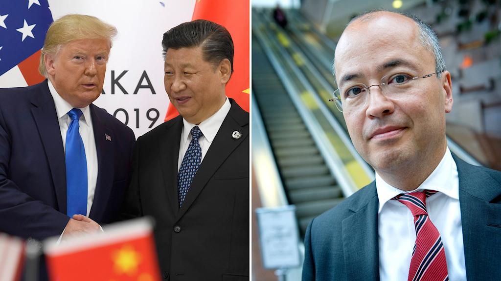 Presidentkollegorna Donald Trump och Xi Jinping (t.v) och Frederic Cho, Kinaexpert (t.h).