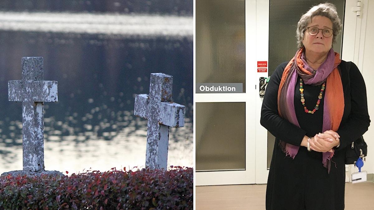 """Två bilder: Två gravkors i sten med lavar på vid vatten samt en kvinna med lockigt, gråsprängt hår, glasögon, mörk klänning, färggrann sjal och halsband står framför sjukhusdörr märkt """"obduktion"""""""
